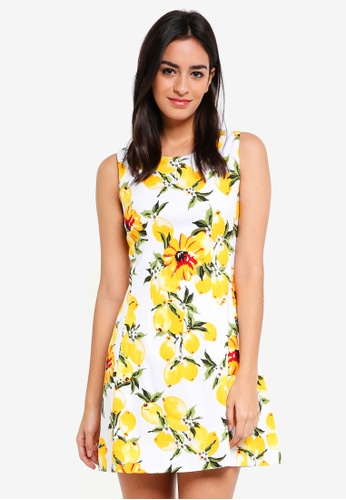 ZALORA yellow Fit and Flare Dress with Pleats FF982AABB87559GS_1
