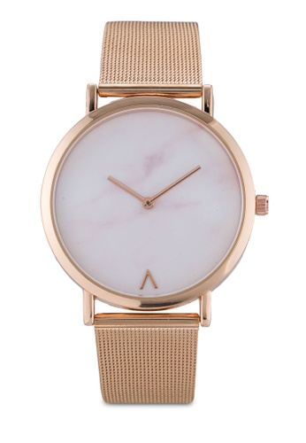 NUVEAU Round Marble Face Mesh Strap Watch NU245AC0SBI0MY_1