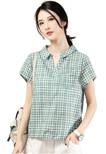 A-IN GIRLS white and green Fashion Checkered Short Sleeve Blouse F76B7AAE02589DGS_1