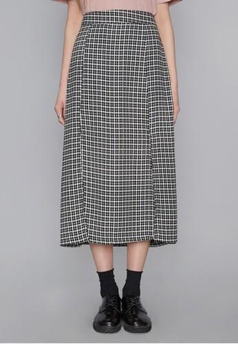 前雙開叉格子長裙, 服esprit台灣飾, 裙子