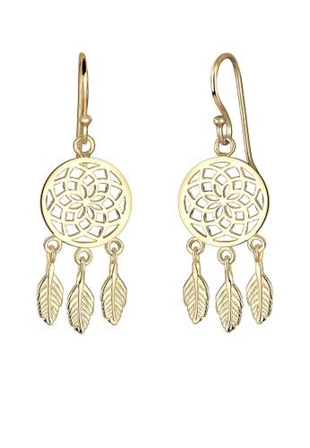 Elli Germany gold Gold Plated Dreamcatcher Earrings EL474AC0RFHGMY_1