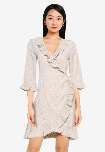 ZALORA BASICS multi Frill Detail Wrap Dress 4394BAA8E0A083GS_1