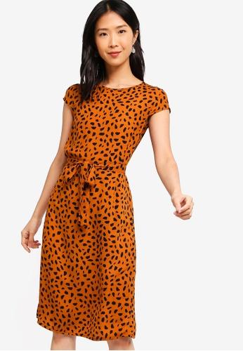 ZALORA BASICS brown Basic Midi Dress With Tie DCDE7AA416784DGS_1
