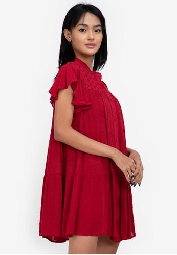 ZALORA BASICS red Eyelet Shirt Dress 5CC2FAA00E4C1CGS_1