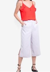 Dorothy Perkins grey Split Wide Crop Trousers DO816AA90CCJMY_1