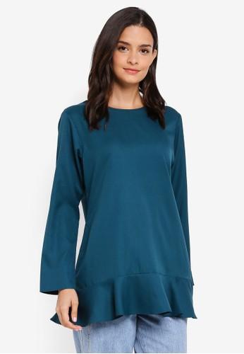 Aqeela Muslimah Wear blue Ruffled Back Button Top 15ED2AA9FDAC3EGS_1