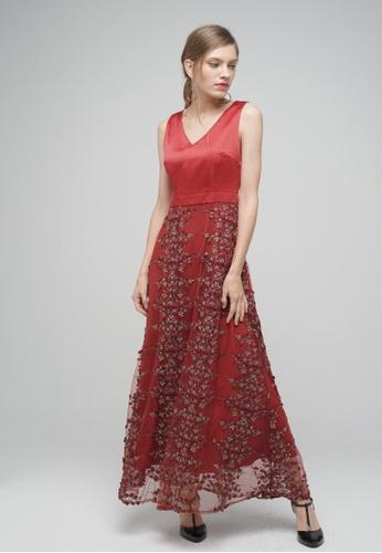 Megane red Red Romance Diannah V-Neck Long Dress 8245BAA4B74127GS_1