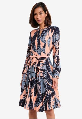 CLOSET multi Full Skirt Belted Dress 11774AA9602A21GS_1