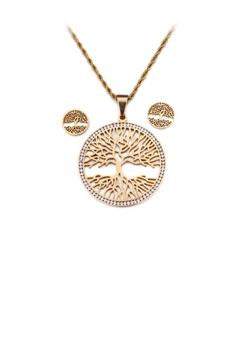 Glamorousky white Fashion and Elegant Plated Gold Tree Of Life Geometric Round 316L Stainless Steel Necklace and Stud Earring Set with Cubic Zirconia D4519AC3BD8137GS_1