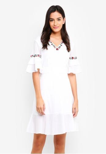 ZALORA white Embroidered V Neck Ruffle Detail Dress 9DFA1AAD0919A0GS_1