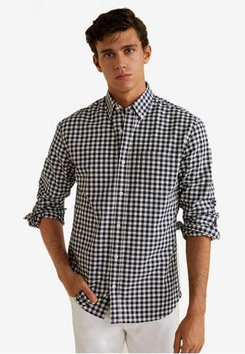 MANGO Man 藍色 長袖格紋襯衫 BC376AA38457D9GS_1
