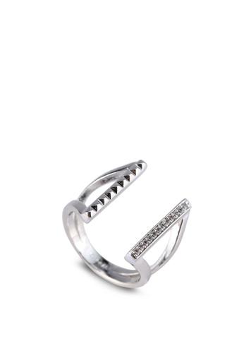 Wanderlust + Co silver Stud Crystal Silver Cuff Ring WA415AC0SAGTMY_1
