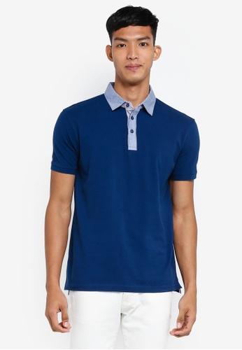OVS blue Colored Collar Polo Shirt 5F2E3AA17F69A0GS_1