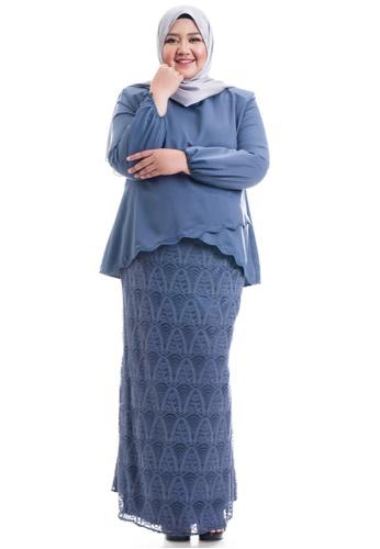 Ashura grey Naresha Kurung With Layered Scallop Plus Size 13B57AA6FDBD95GS_1