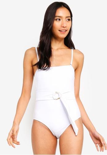 PINK N' PROPER white Zeta Belted Striaght Cut Swimsuit A5A05US023B3EBGS_1
