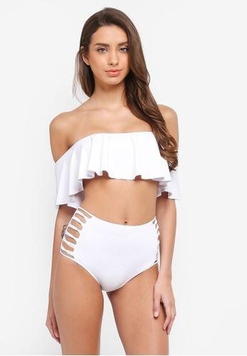 PINK N' PROPER white Kylie Off-Shoulder High-Waist Bikini Set 69B09US093ECF2GS_1