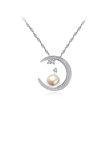 Glamorousky white 925 Sterling Silver Simple Bright Moon White Freshwater Pearl Pendant with Cubic Zirconia and Necklace B19B0AC6657B3AGS_1