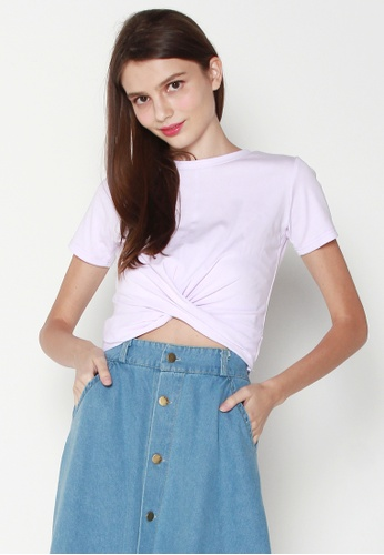 JOVET purple Front Knot Cropped Tee 92BC6AA718E65DGS_1