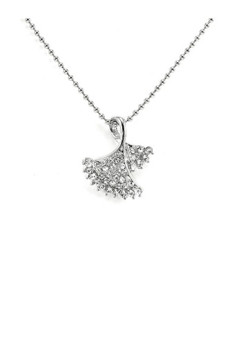 Glamorousky silver Glistering Silvery Leaves Pendant with Silver Austrian Element Crystals and Necklace 897D4AC108B3C6GS_1