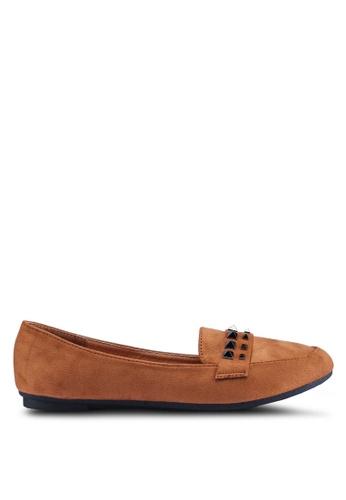 Noveni 褐色 鉚釘平底鞋 88439SH9A41084GS_1