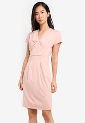 ZALORA pink Sheath Dress With Gathered Details 6605FAAA9570DEGS_1