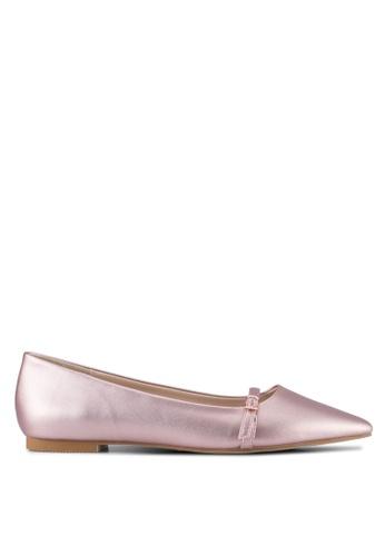 Velvet pink Buckle Ballet Flat Shoes 8E311SH6A676C0GS_1