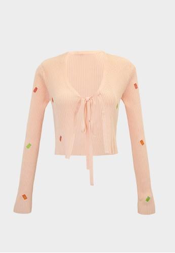 Pomelo orange Haribo Long Sleeve Tie Front Cardigan - Peach E9EEEAAEED504BGS_1