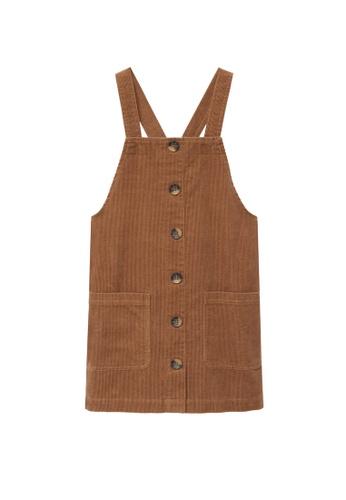 MANGO KIDS brown Buttons Corduroy Pinafore Dress 53C73KADC06692GS_1