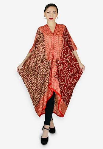 PANGOI red and gold PANGOI Long Kaftan Babyfly Viscose Batik Dress 2B220AA5E6D7BCGS_1
