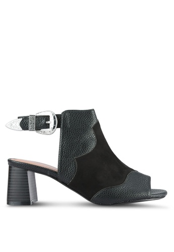 TOPSHOP black Drew Western Heeled Sandals TO412SH0RV6YMY_1