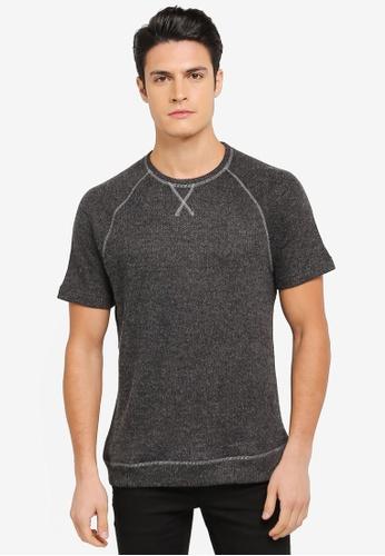 ZALORA 黑色 混色短袖針織上衣 29348AA6CD026FGS_1