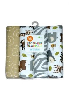 Receiving Blanket - Elephant, Monkey, Bear and Giraffe