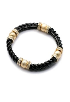 Twist Bangle with Gold Detail – Black