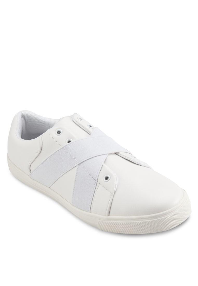 Crossed Elastic Faux Leather Sneakers