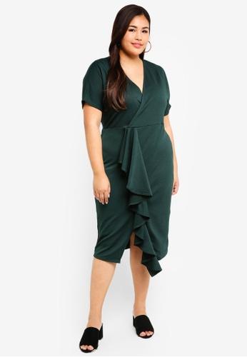 LOST INK PLUS 綠色 大尺碼 褶飾緊身洋裝 37AB6AACAFCB72GS_1