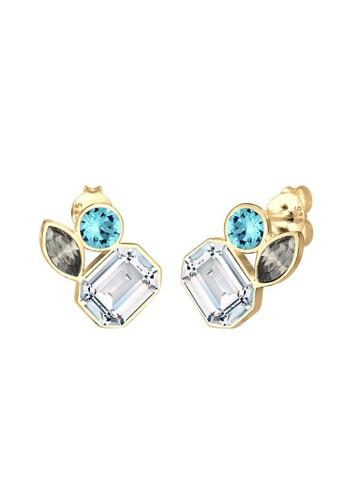 Elli Germany gold Perhiasan Wanita Perak Asli - Silver Anting Stud Multi-Color Swarovski® Crystal 14619AC9A60E19GS_1