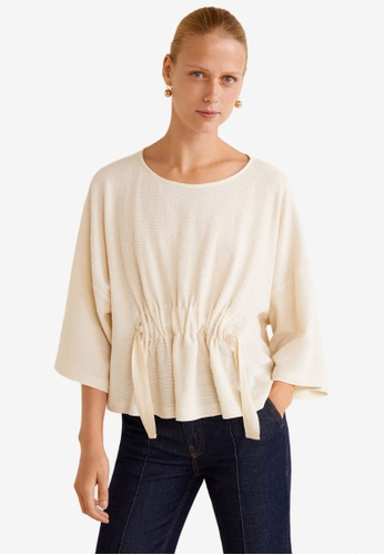 Mango white Ruched Detail T-Shirt C2498AAC6052EAGS_1