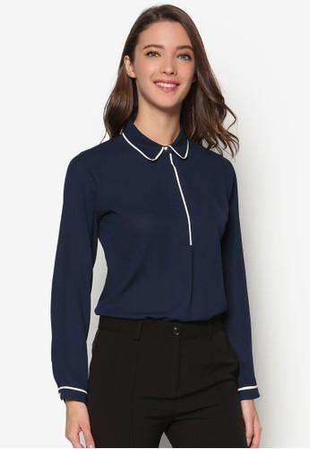 撞色滾邊長袖襯衫、 服飾、 T-shirtDorothyPerkins撞色滾邊長袖襯衫最新折價