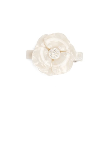 Glamorousky white Fashion and Elegant White Flower Small Hair Slide with Cubic Zirconia 06FC4ACDD061A3GS_1