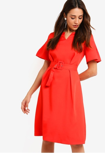 ZALORA red Flare Sleeves Fit And Flare Dress 34508AA627C6B3GS_1