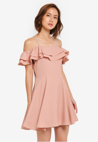 ZALORA pink Strappy Ruffle Front Fit & Flare Dress 173BFAABFCE2B9GS_1