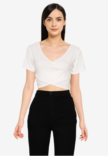 Public Desire white Wrap Front Rib Crop Top 47BFAAADE0D035GS_1