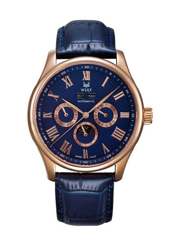 Wulf blue Wulf Lycan Rose Gold and Blue Leather Watch EEF20AC6B36BF0GS_1