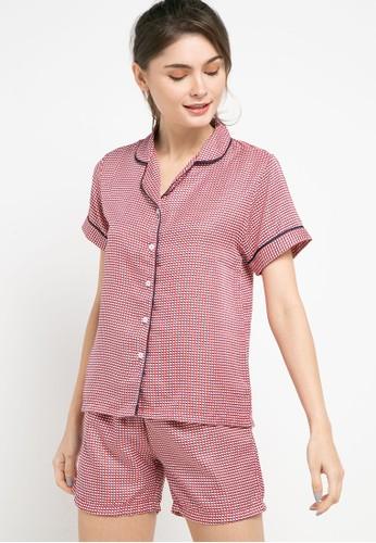 Anne Wintours multi Pyjama Set Satin Short Sleeve Short Pants Sleepwear 5DDFBAAF402BD3GS_1