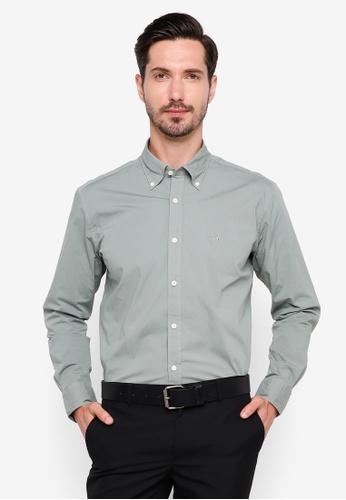 Sacoor Brothers green Regular fit cotton elastane comfort poplin shirt in garment dye 7BD94AABD5532CGS_1