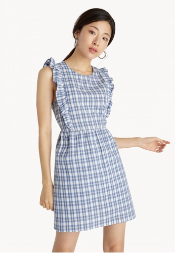 3b77e893c343a Buy Pomelo Mini Sleeveless Plaid Dress - Blue Online on ZALORA Singapore