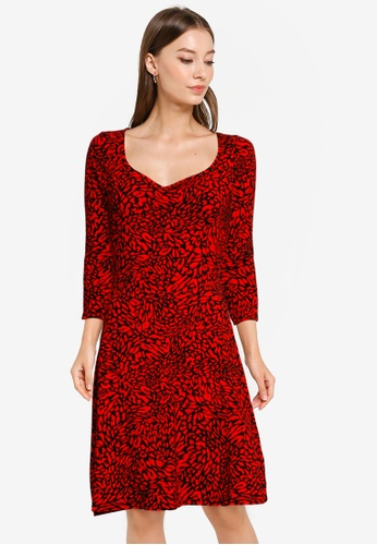 Dorothy Perkins red Red Abstract Ruched Fit & Flare Dress 31644AA9923874GS_1