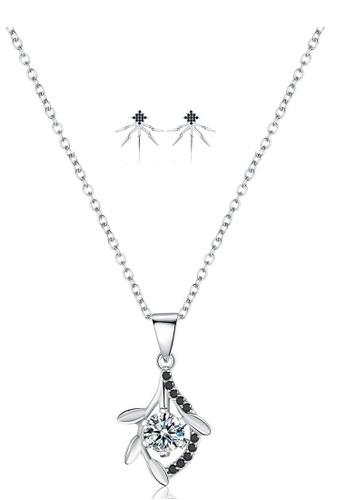 A-Excellence white Premium Elegant White Sliver Necklace Earring Set B3DECAC36F0E0DGS_1