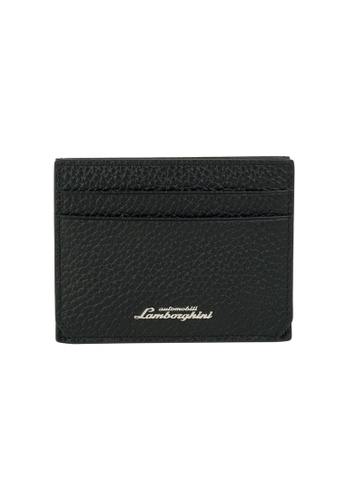 Lamborghini black Automobili Lamborghini® Script Black Calf Leather Wallet and Credit Cards holder 4D1D3AC045CEDBGS_1