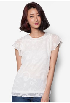 Pastel Lace Top with Petal Sleeves
